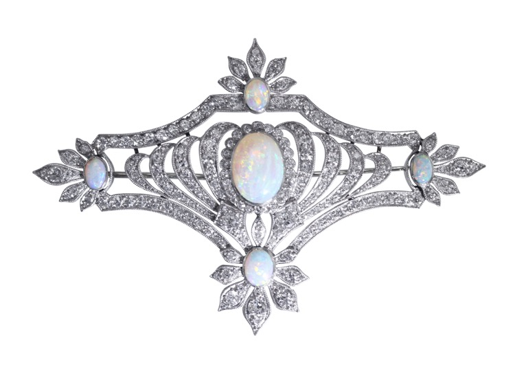 Art Deco Platinum, Opal and Diamond Brooch
