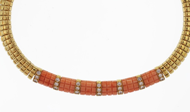 18 Karat Gold, Coral and Diamond Necklace by Van Cleef & Arpels