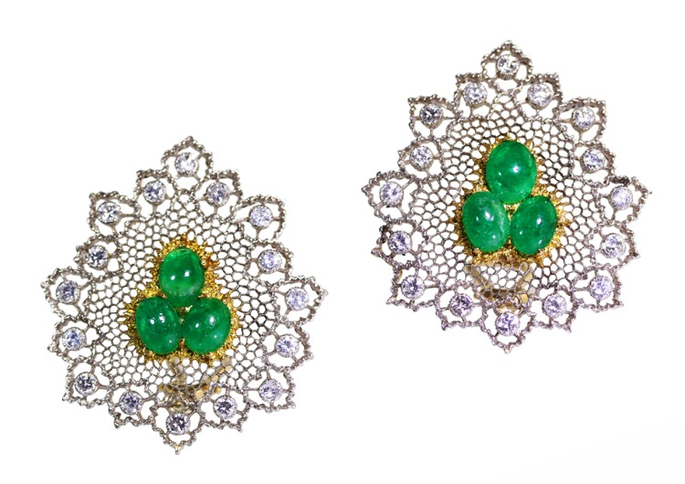 Pair of 18 Karat Gold, Emerald and Diamond Earclips by Buccellati, Italy