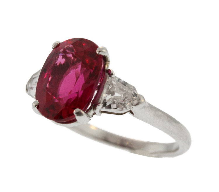 Platinum Ruby Diamond Ring