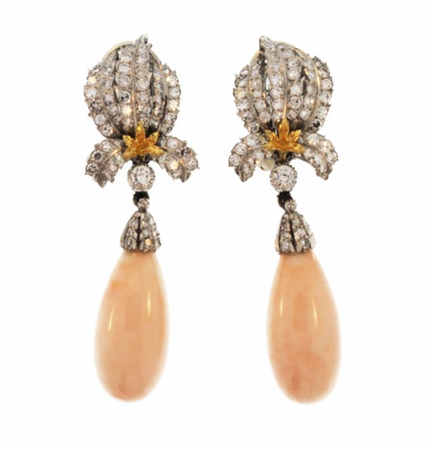 Pair of 18 Karat Gold, Coral and Diamond Earclips by Buccellati, Italy