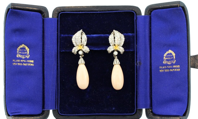 Pair of 18 Karat Gold, Coral and Diamond Earclips by Buccellati, Italy - Image #2