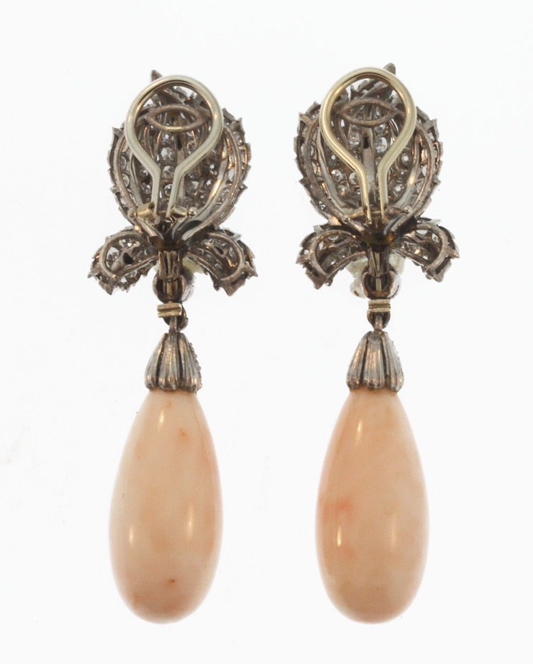 Pair of 18 Karat Gold, Coral and Diamond Earclips by Buccellati, Italy - Image #3