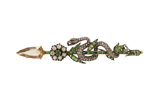 Antique Silver-Topped Gold, Colored Diamond and Demantoid Garnet Snake Brooch