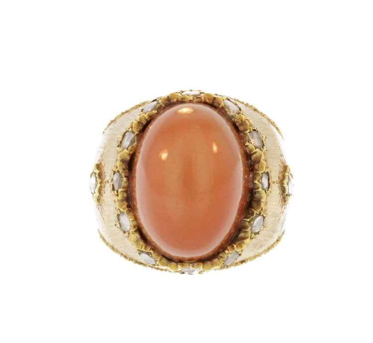 18 Karat Gold, Moonstone and Diamond Ring by Mario Buccellati, Italy - Image #2