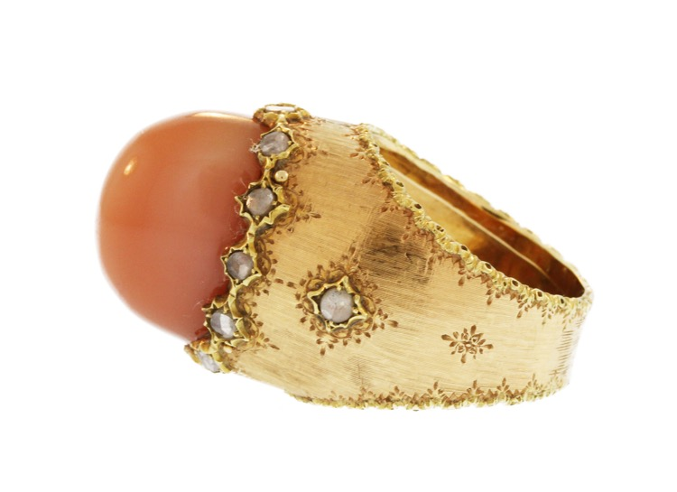 18 Karat Gold, Moonstone and Diamond Ring by Mario Buccellati, Italy - Image #3