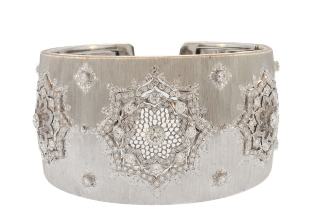 18 Karat White Gold and Diamond Cuff by Buccellati, Italy