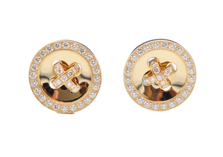 Pair of 18 Karat Gold and Diamond Button Earclips by Van Cleef & Arpels, France