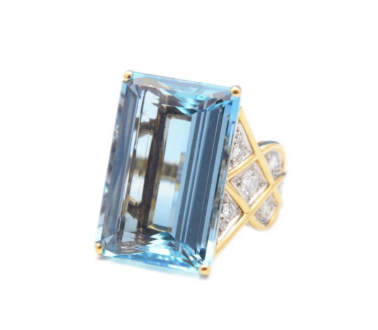 18 Karat Gold, Aquamarine and Diamond Ring by Cartier
