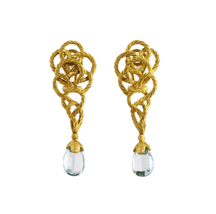 18 Karat Gold and Aquamarine Earclips by Buccellati - Image #1