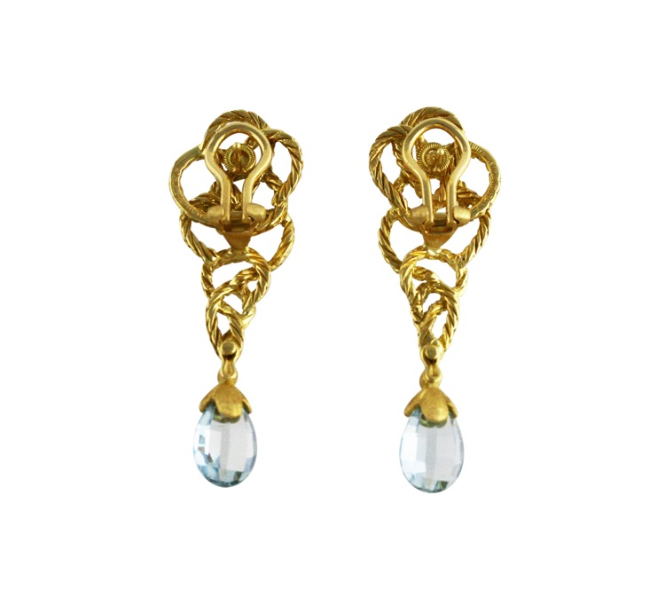 18 Karat Gold and Aquamarine Earclips by Buccellati - Image #2