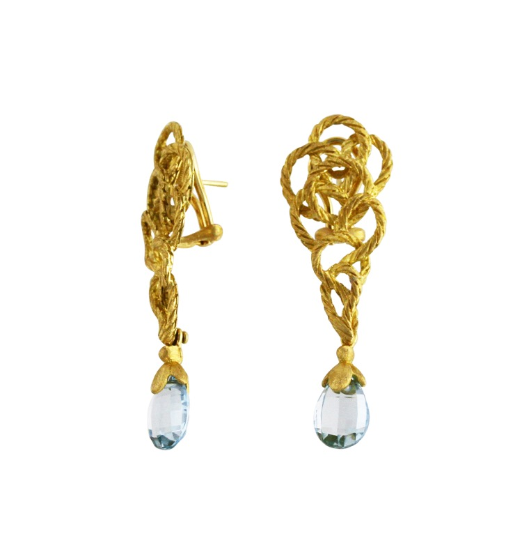 18 Karat Gold and Aquamarine Earclips by Buccellati - Image #3