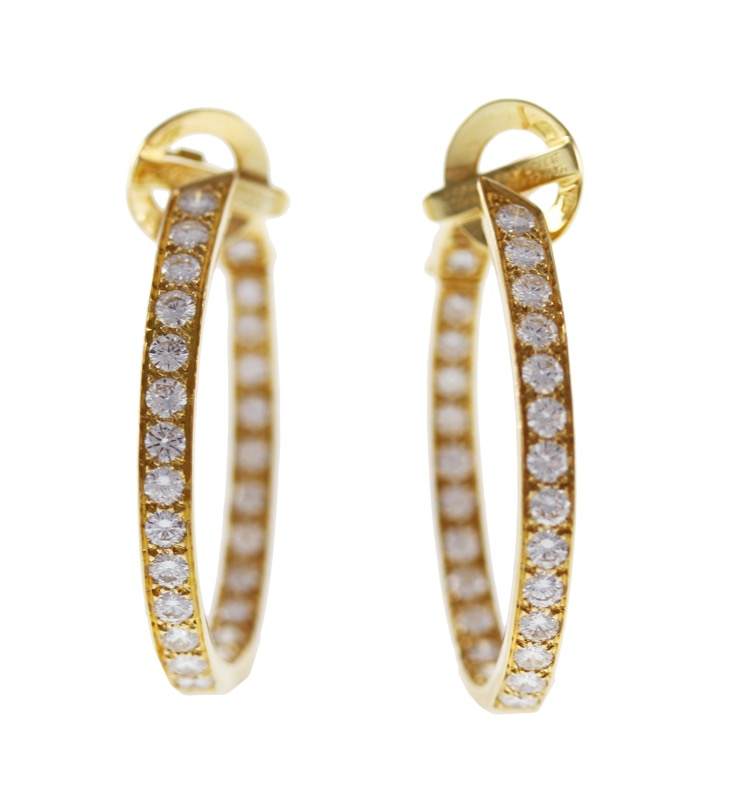 Pair of 18 Karat Gold and Diamond Hoop Earrings by Van Cleef and Arpels