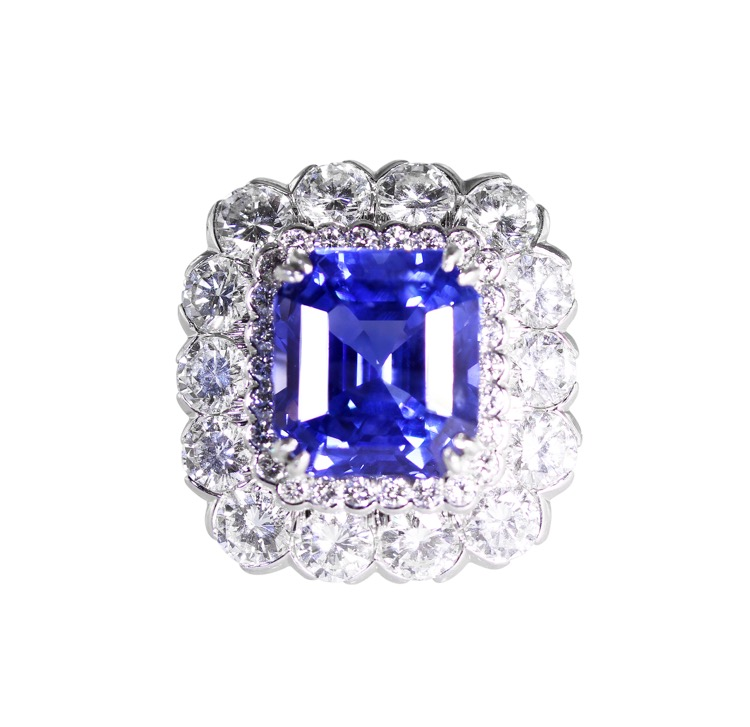 Platinum, Sapphire and Diamond Ring by David Webb