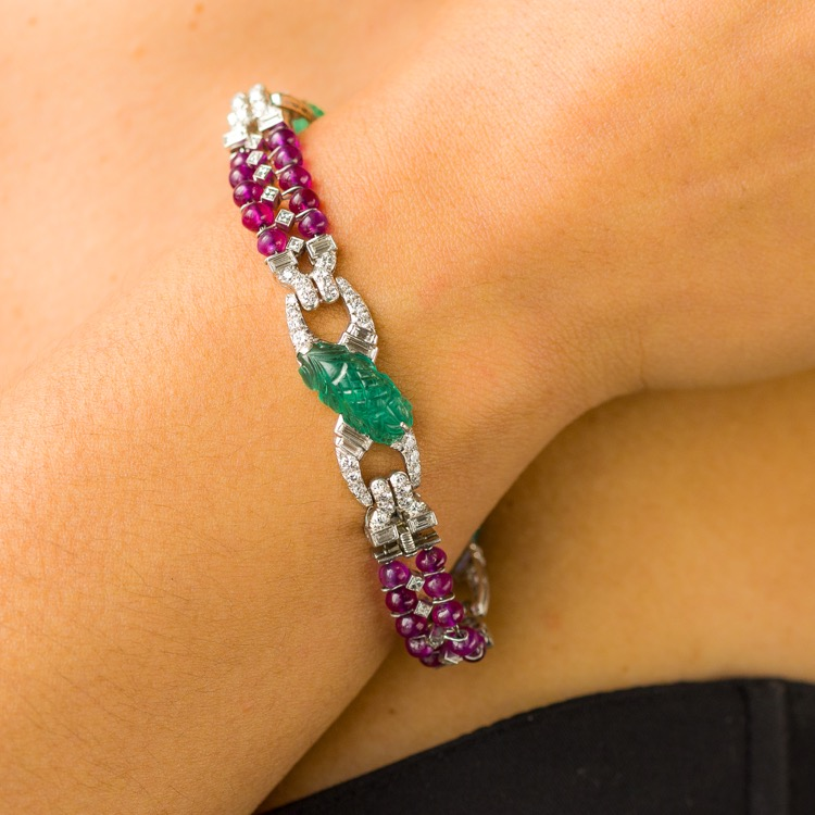 Art Deco Platinum, Carved Emerald, Ruby and Diamond Bracelet  - Image #3