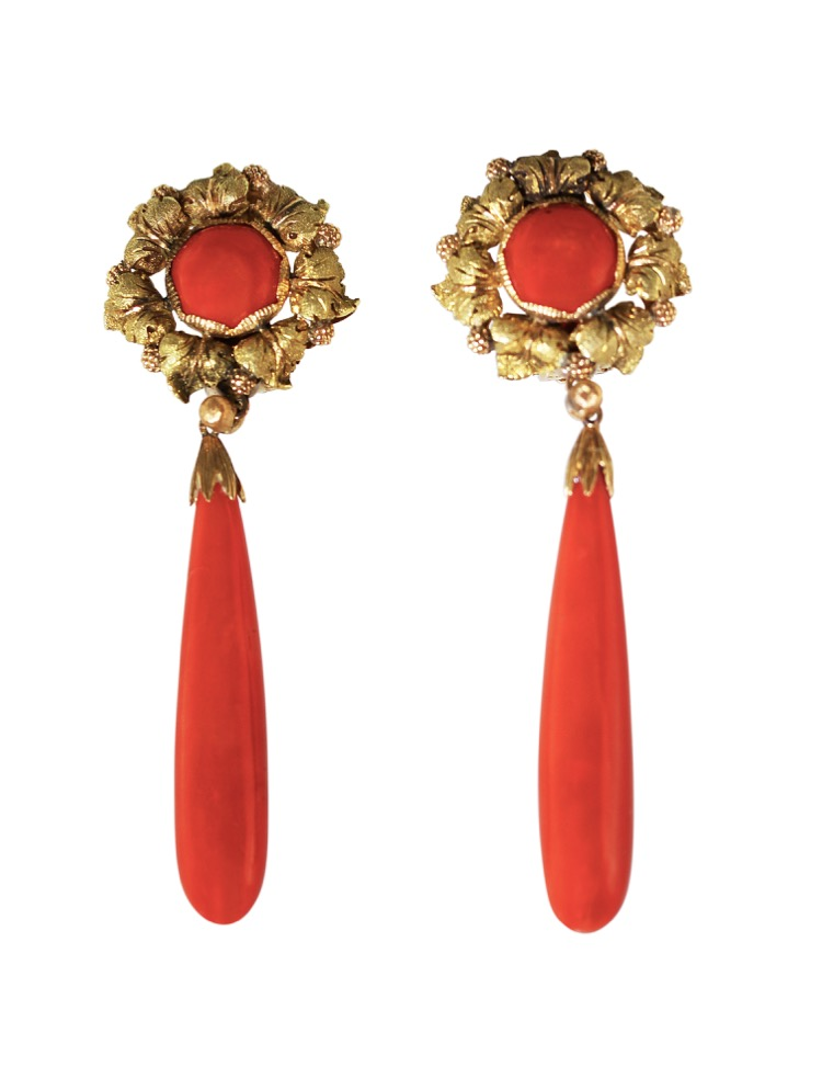 Pair of 18 Karat Gold and Coral Pendant Earclips by Buccellati