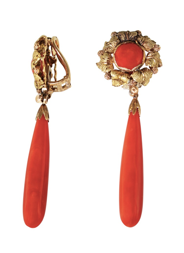 Pair of 18 Karat Gold and Coral Pendant Earclips by Buccellati - Image #2