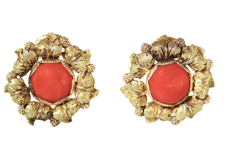 Pair of 18 Karat Gold and Coral Pendant Earclips by Buccellati - Image #4