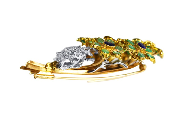 18 Karat Gold, Emerald, Sapphire and Diamond Brooch by Buccellati, Italy - Image #3