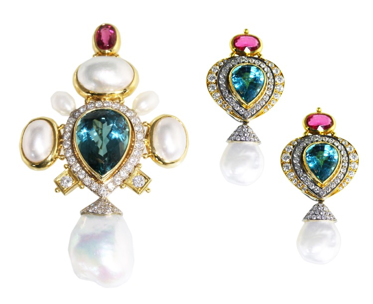 Suite of 18 Karat Gold, Pearl, Tourmaline and Diamond Jewelry by Elizabeth Gage