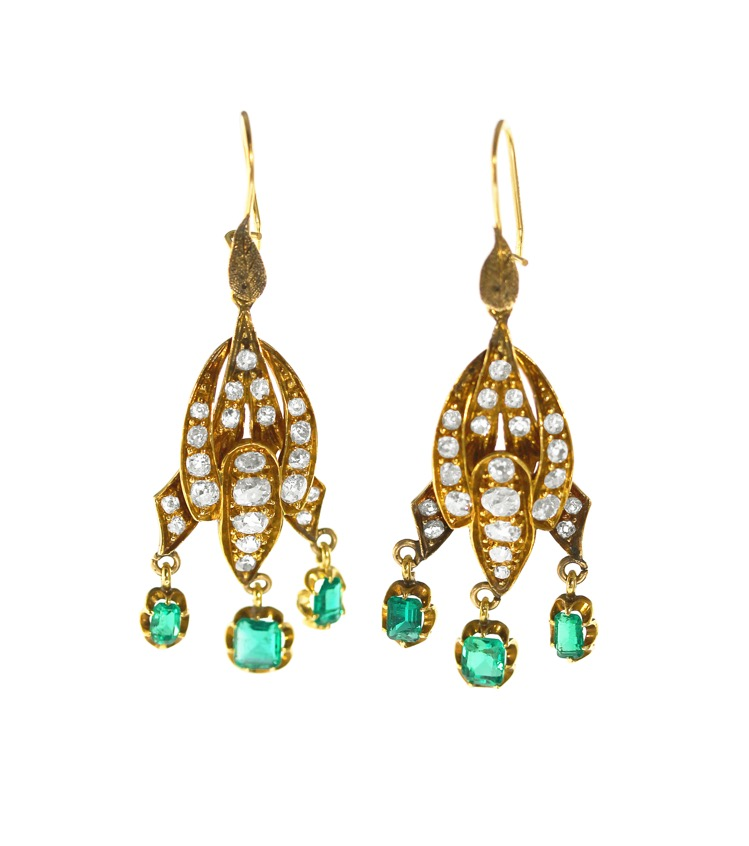 Pair of Antique 14 Karat Gold, Emerald and Diamond Pendant-Earrings - Image #1