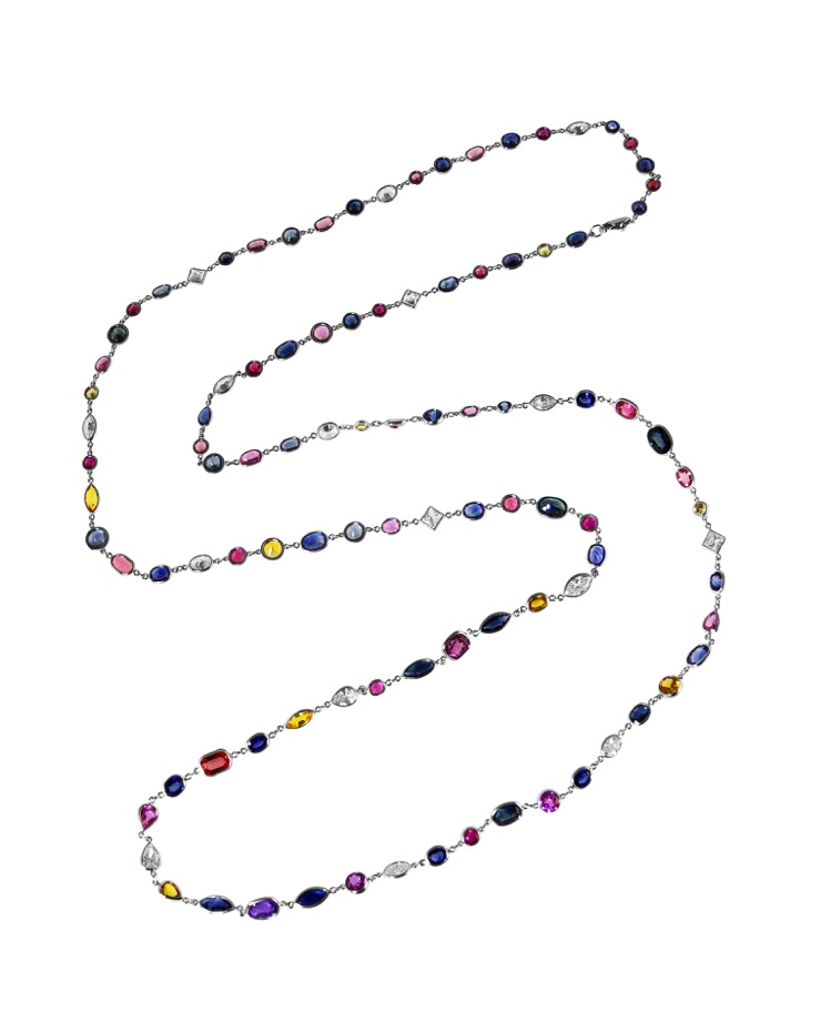Platinum, Multi Color Sapphire and Diamond Longchain