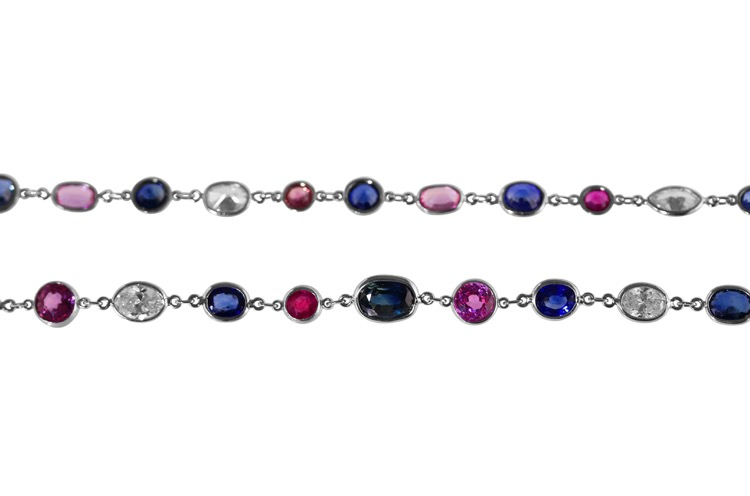 Platinum, Multi Color Sapphire and Diamond Longchain - Image #2