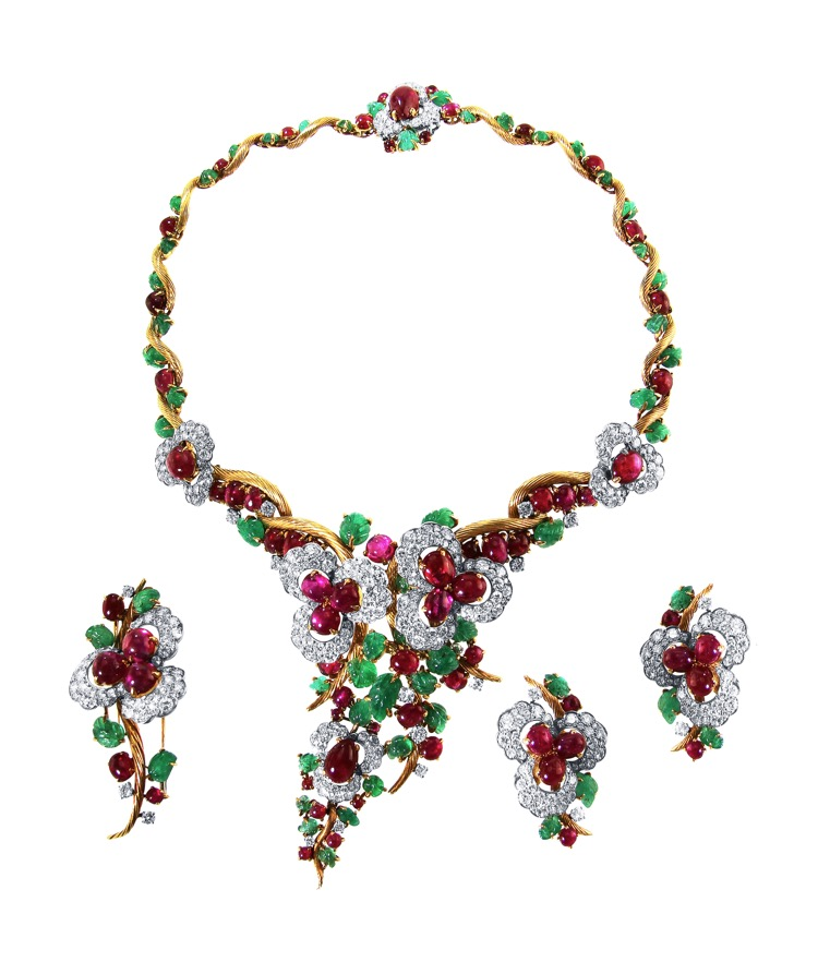 Suite of 18 Karat Gold, Platinum, Emerald, Ruby and Diamond Necklace, Brooch and Earclips by Mauboussin, Paris, 1962 to 1965 - Image #1