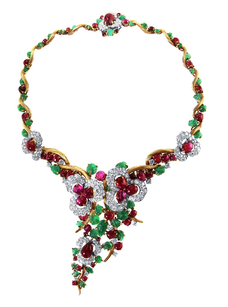 Suite of 18 Karat Gold, Platinum, Emerald, Ruby and Diamond Necklace, Brooch and Earclips by Mauboussin, Paris, 1962 to 1965 - Image #2