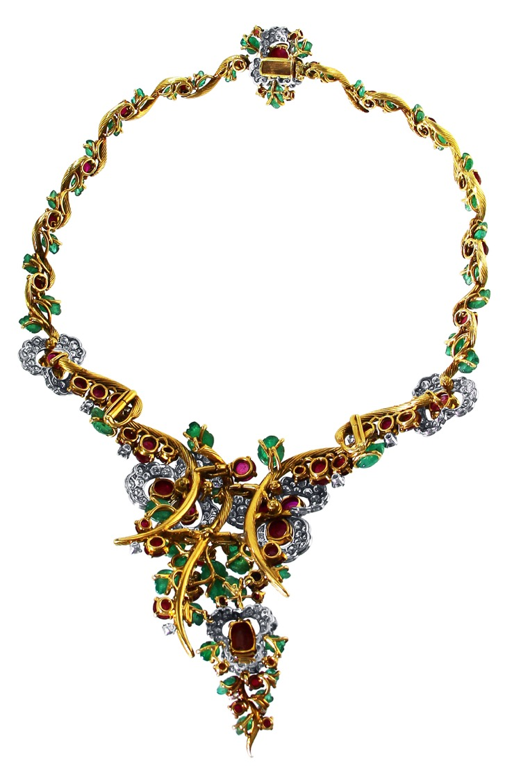 Suite of 18 Karat Gold, Platinum, Emerald, Ruby and Diamond Necklace, Brooch and Earclips by Mauboussin, Paris, 1962 to 1965 - Image #3