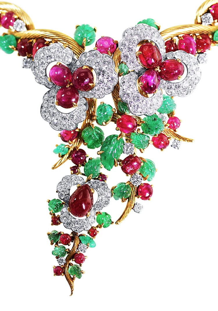 Suite of 18 Karat Gold, Platinum, Emerald, Ruby and Diamond Necklace, Brooch and Earclips by Mauboussin, Paris, 1962 to 1965 - Image #4