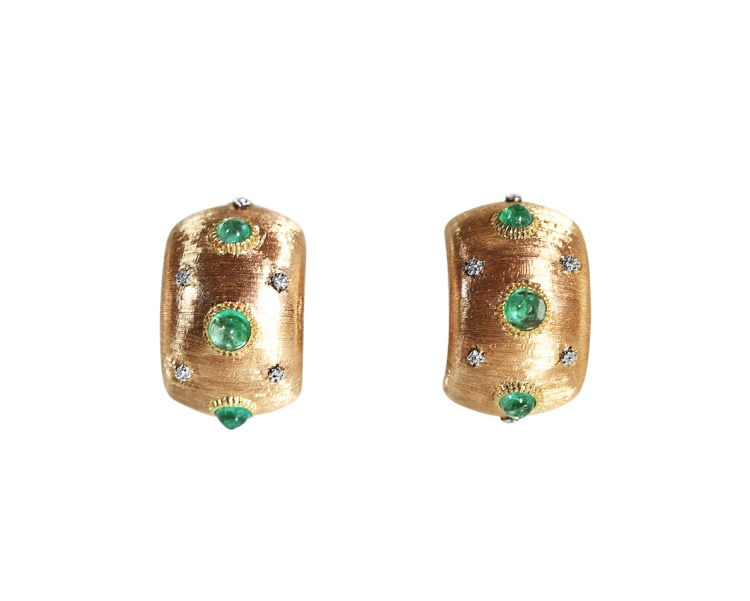 Pair of 18 Karat Gold and Emerald Earclips by Buccellati, Italy - Image #1