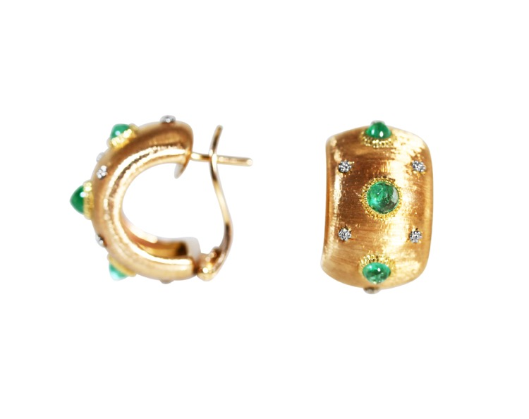 Pair of 18 Karat Gold and Emerald Earclips by Buccellati, Italy - Image #2