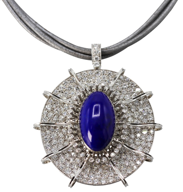 18 Karat White Gold, Opal and Diamond Pendant-Brooch/Necklace Combination - Image #2
