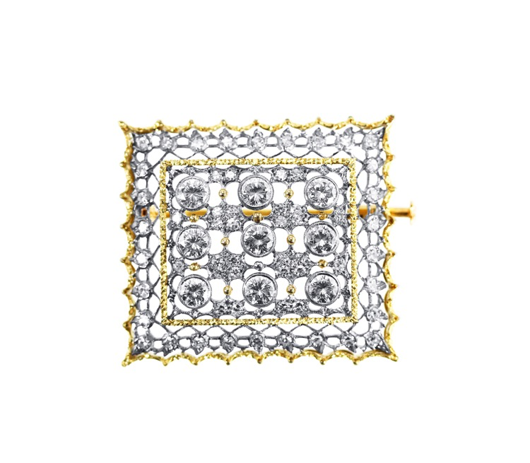 18 Karat Gold and Diamond Brooch by Buccellati, Italy