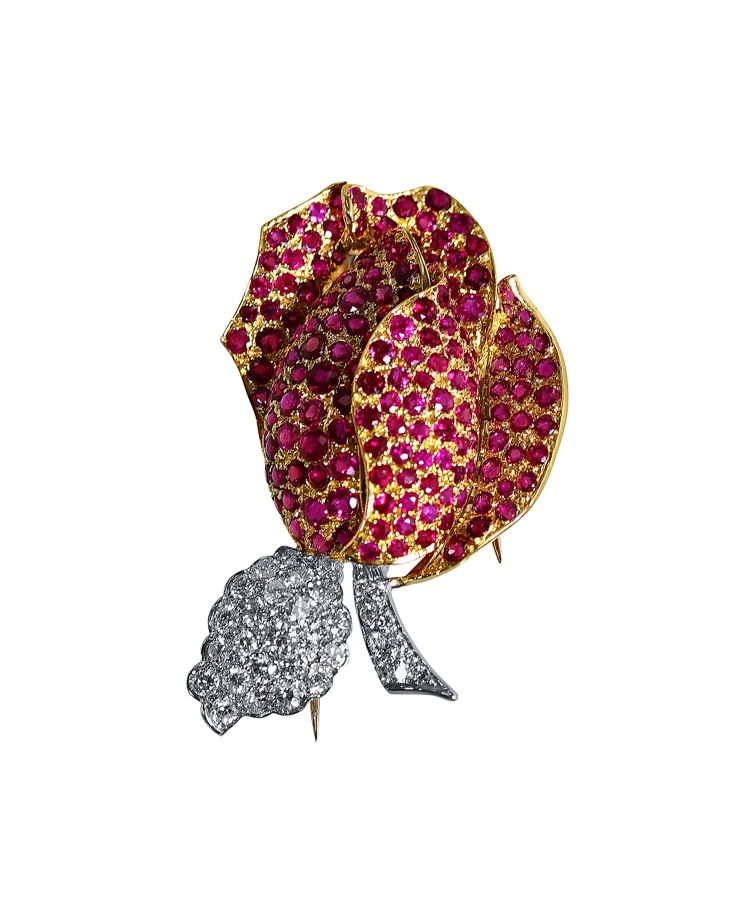 18 Karat Two-tone Gold, Ruby and Diamond Rose Brooch by Buccellati, Italy - Image #1