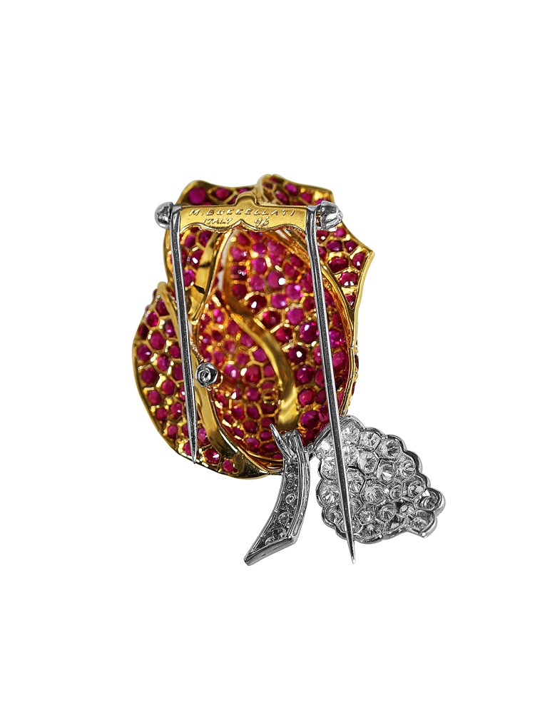 18 Karat Two-tone Gold, Ruby and Diamond Rose Brooch by Buccellati, Italy - Image #2