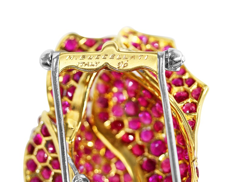 18 Karat Two-tone Gold, Ruby and Diamond Rose Brooch by Buccellati, Italy - Image #4