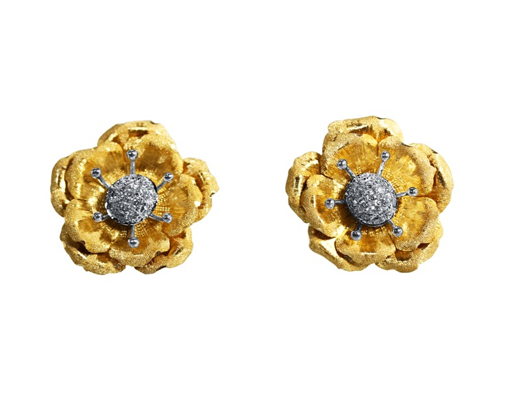 Pair of 18 Karat Two-tone Gold Diamond Earclips by Buccellati, Italy - Image #1