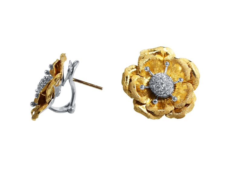 Pair of 18 Karat Two-tone Gold Diamond Earclips by Buccellati, Italy - Image #2