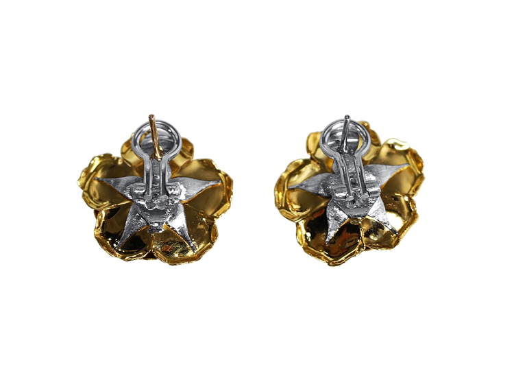 Pair of 18 Karat Two-tone Gold Diamond Earclips by Buccellati, Italy - Image #3
