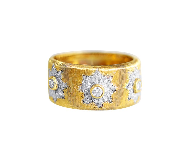 18 Karat Two-tone Gold and Diamond Ring by Buccellati, Italy - Image #1