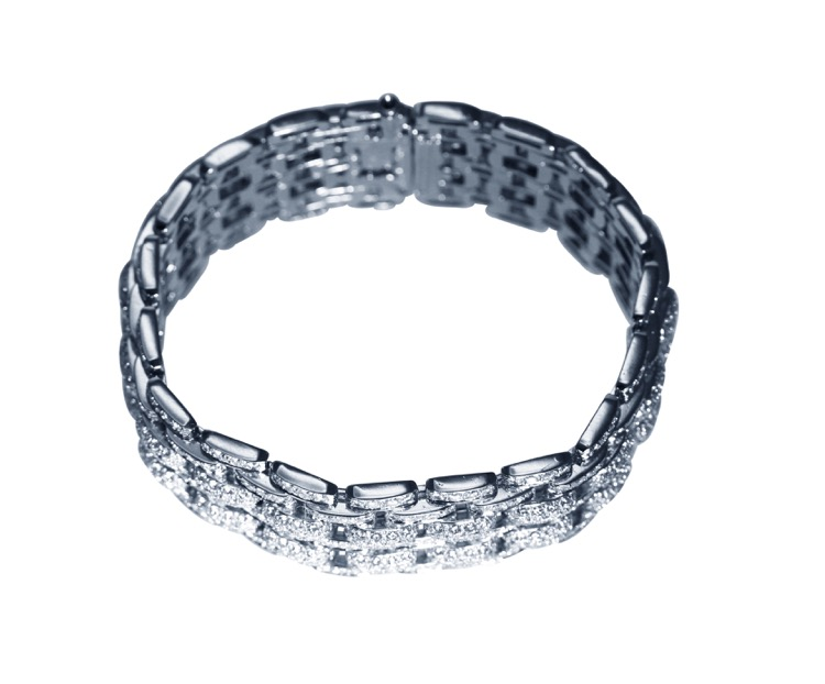 Platinum and Diamond Bracelet by Cartier, France - Image #2