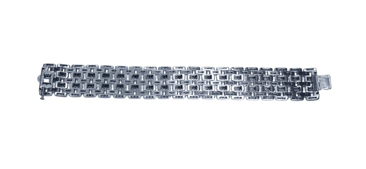 Platinum and Diamond Bracelet by Cartier, France - Image #4