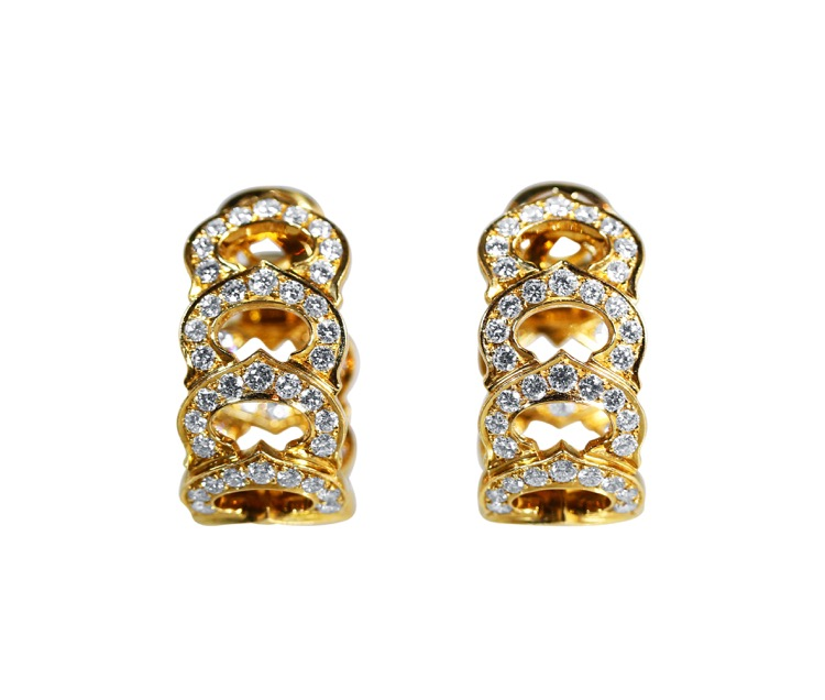 Pair of 18 Karat Gold Diamond Earclips by Cartier, France