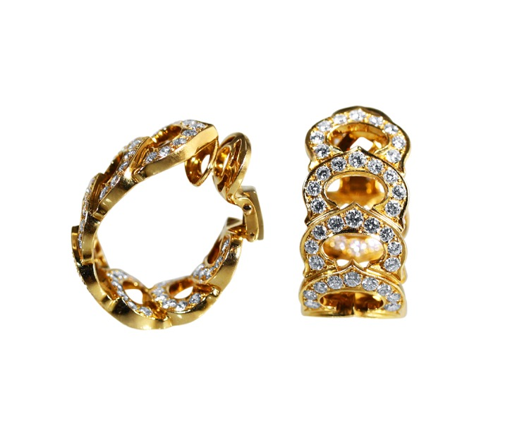 Pair of 18 Karat Gold Diamond Earclips by Cartier, France - Image #2