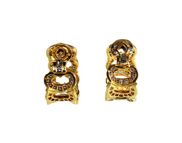 Pair of 18 Karat Gold Diamond Earclips by Cartier, France - Image #3