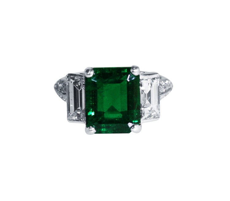 Platinum Emerald and Diamond Ring, Circa 1940s