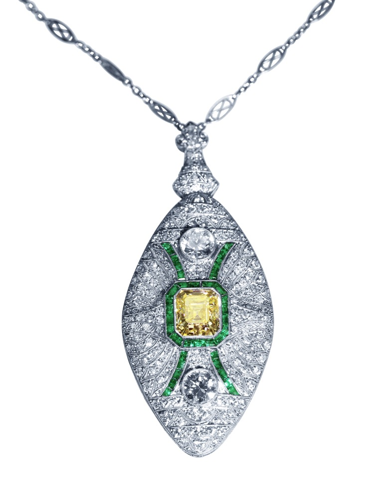 Art Deco, Platinum, Fancy Color Diamond, Diamond and Emerald Pendant-Necklace/Brooch Combination - Image #1