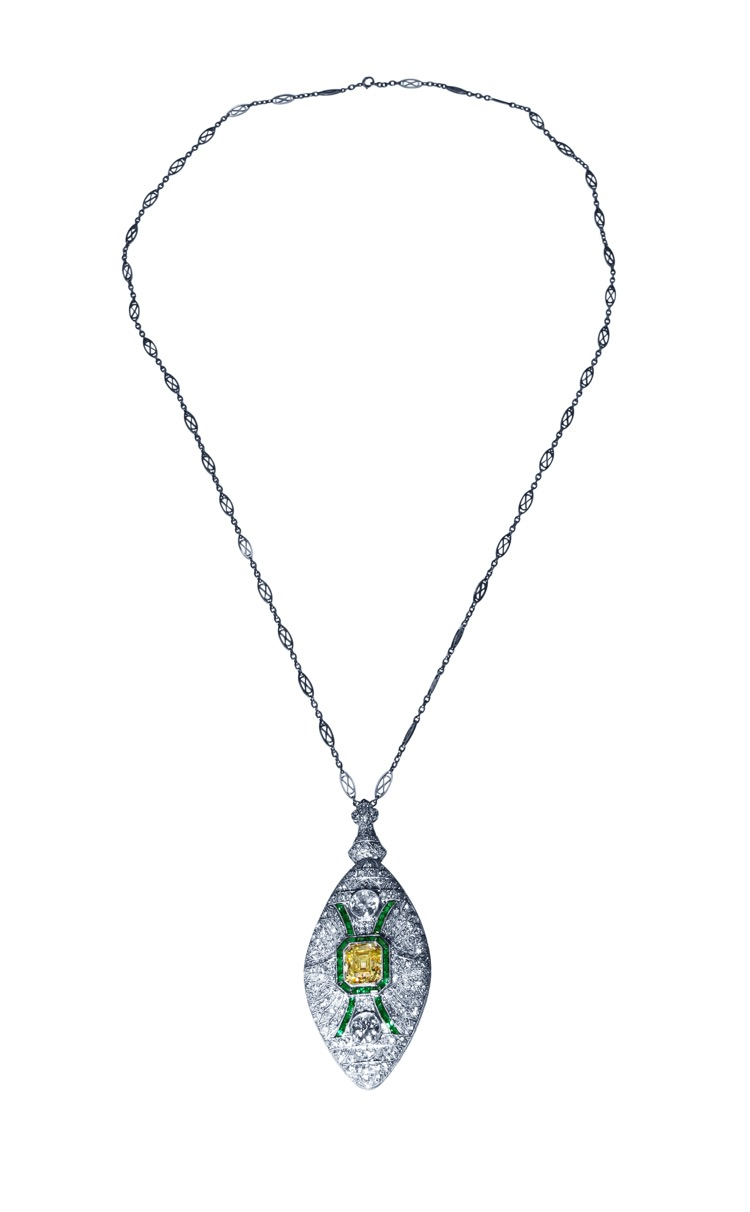 Art Deco, Platinum, Fancy Color Diamond, Diamond and Emerald Pendant-Necklace/Brooch Combination - Image #2